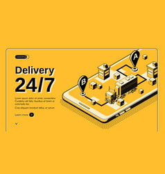 24-hour delivery service isometric website vector image