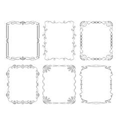 6 black rectangular frames vector