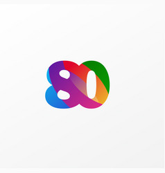 80 years anniversary celebration elegant color vector