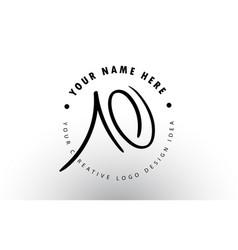 Ao handwritten letters logo design with circular vector
