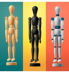 Artists wooden dummy on colorful background vector image