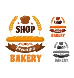 Bakery or pastry shop icon with baguette vector
