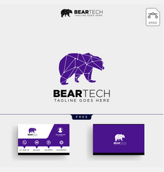 Bear tech geometric logo template and business vector