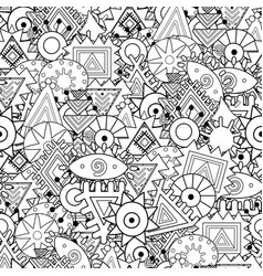 black and white abstract ornament seamless pattern vector image