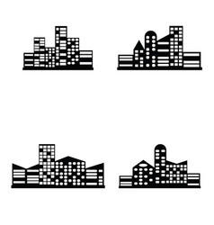 Black city icons set vector