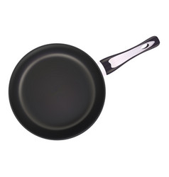 black metal frying pan isolated on a white vector image