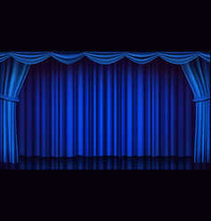 Blue theater curtain theater opera or vector