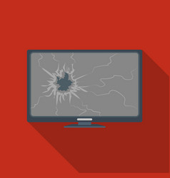 Broken television icon in flate style isolated on vector