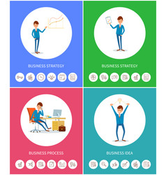 Business strategy process businessman idea plan vector