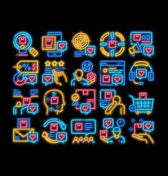 Buyer customer journey neon glow icon vector