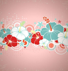 Card with hibiscus flowers vector