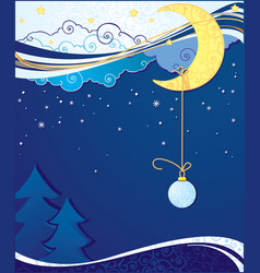 christmas and new year background with moon vector image