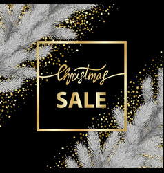 Christmas sale card with gold lettering and vector