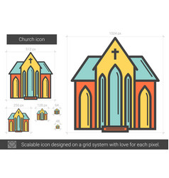 Church line icon vector