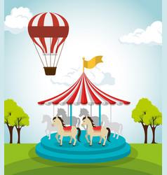 Circus crousel entertainment icon vector