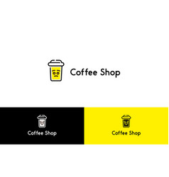 coffee shop with smiley cup logo vector image