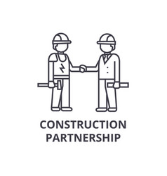 construction partnership line icon sign vector image