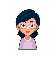 Cute beautiful girl with glasses avatar young vector