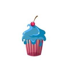 Cute Cupcake With Blue Icing vector image
