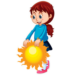 cute girl holding sun isolated vector image