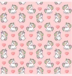 cute unicorns and hearts seamless pattern on pink vector image