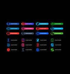 Dark social media lower third banners template vector