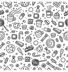 dessert set elements in doodle style vector image