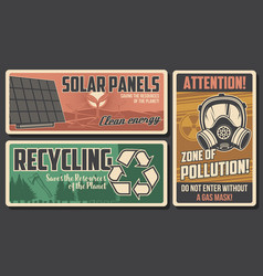 Environment retro posters eco protection vector