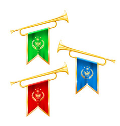 fanfare trumpets with flags glory and fame symbol vector image