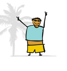 fat man on beach sketch for your design vector image