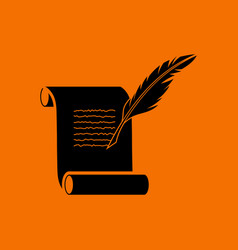 feather and scroll icon vector image