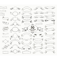 Fifty black hand drawn ribbons banners vector