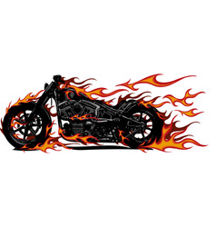 Flaming bike chopper ride vector