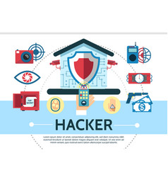 flat house electronic hacking composition vector image