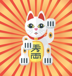 flat style maneki cat icon on radiant background vector image