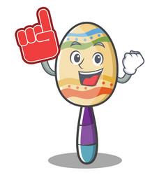 Foam finger maracas character cartoon style vector