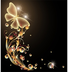 Golden ornament and butterfly vector
