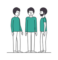 group of men with green clothes vector image