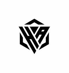 Ha logo monogram with triangle and hexagon modern vector