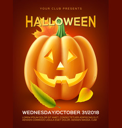 halloween pumpkin autumn leaves vector image