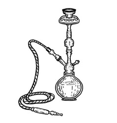 hand drawn hookah isolated on white background vector image
