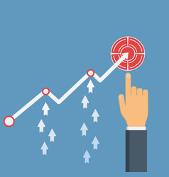hand points to profit growth up vector image