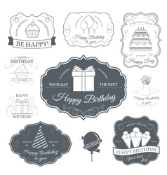Happy birthday set label template of emblem vector image