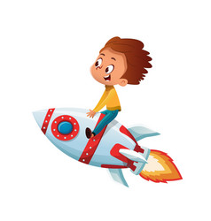 Happy boy playing and imagine himself in space vector