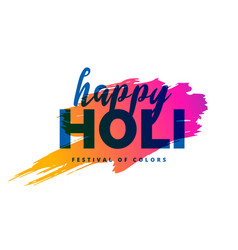 happy holi background with color splash vector image