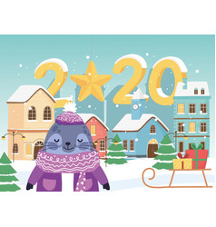 happy new year 2020 celebration cute seal vector image