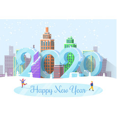 Happy new year 2020 cityscape and people on rink vector