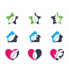 herbal logo pharmacy icon leaf in heart vector image