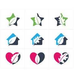 Herbal logo pharmacy icon leaf in heart vector