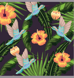 Hummingbird with tropical leaves plants background vector